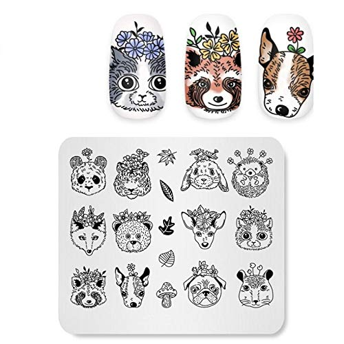 Plaques d'estampage à ongles Stamper Nail Fox Tiger Image Template Manucure Nail Stencil Tool Templates Decorations Stamp