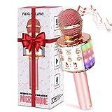 bluetooth Karaoke Mikrofon NASUM, Tragbares drahtloses Mikrofon für Kinder und Erwachsene, Dynamische Lichteffekte, Drahtloses Handmikrofon mit Sprecher, Geeignet für iOS, Android und PC
