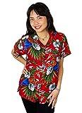 Funky Camisa Blusa Hawaiana, Manga Corta, Cherryparrot, Roja, M