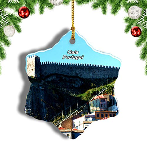 Weekino Portugal Gaia Christmas Ornament Travel Souvenir Tree Hanging Pendant Decoration Porcelain 1637' Double Sided