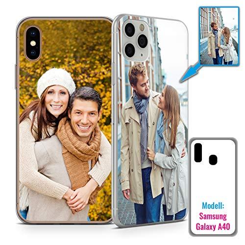 PixiPrints Foto-Handyhülle mit eigenem Bild kompatibel mit Samsung Galaxy A40, Hülle: dünnes Slim-Silikon in Transparent, personalisiertes Premium-Case selbst gestalten mit flexiblem Druck