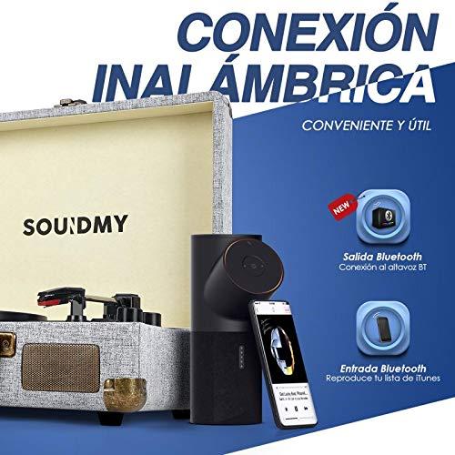 Souidmy Tocadiscos de Vinilo con Bluetooth, 2 Altavoces Incorporados,...