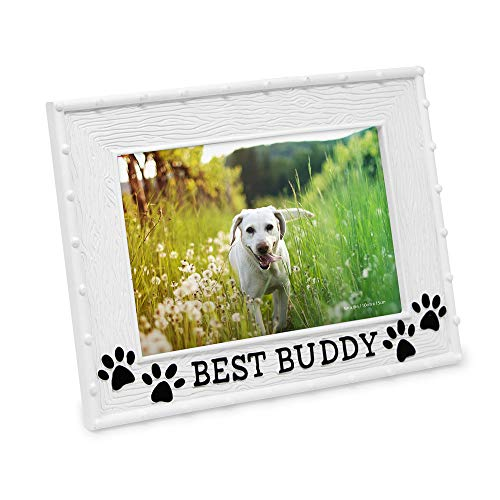 """Isaac Jacobs 4"""" x 6"""" Resin Sentiments Dog Best Buddy Picture Frame, Horizontal Keepsake Photo Frame with Easel and Hanging Tabs for Tabletop, Desktop & Wall Display, (White)"""