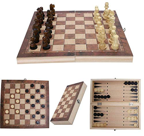 backgammon chess sets Souarts Wooden Chess Set, 3 in 1 Chess Checkers Backgammon Game Board Set, Folding Wood Chess Board with Chessman, Chess Game for Adults and Kids(24x24cm)