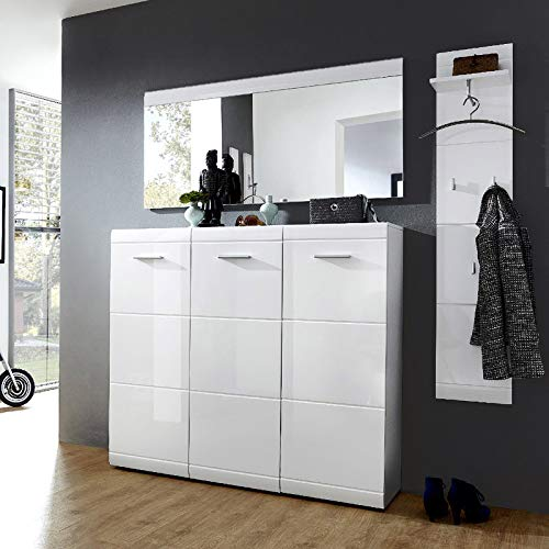 Lomadox Möbel-Set für Garderoben in Hochglanz weiß mit Wandpaneel, Spiegelelement & Schuhschrank