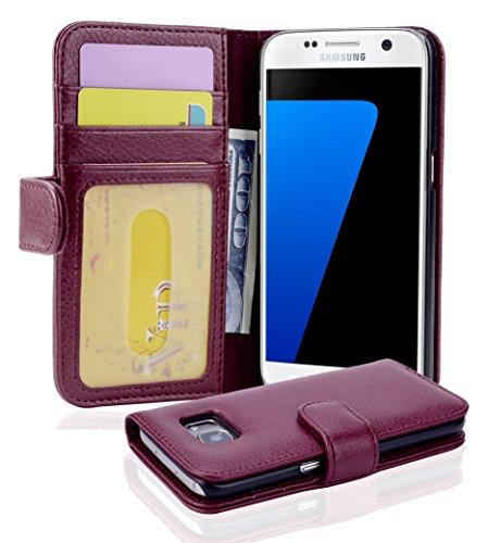 Cadorabo Hülle für Samsung Galaxy S7 in Bordeaux LILA – Handyhülle mit Magnetverschluss und 3 Kartenfächern – Case Cover Schutzhülle Etui Tasche Book Klapp Style