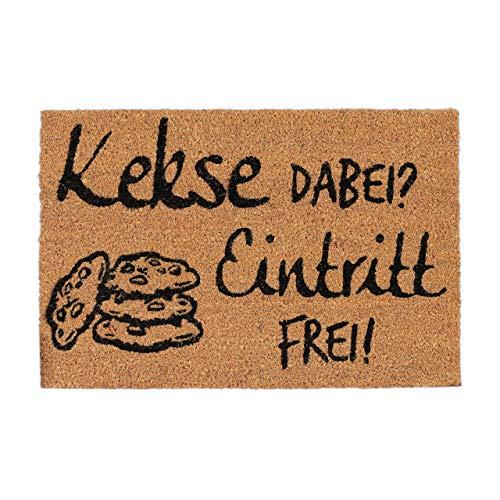 Relaxdays Kokosmatte Kekse Dabei? Eintritt Frei!, Fußmatte aus Kokosfasern, rutschfeste Türmatte, 40x60cm, Natur/schwarz