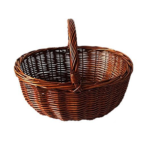 Hogar y cocina Cestas de Picnic Cestas de picnic de bambú de mimbre de mimbre Compras Cestas de regalo para acampar Cestas de almacenamiento Cestas de almacenamiento Pastoral Cestas de picnic portátil