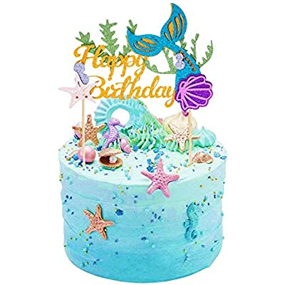 Astonishing Cheap Suloli 1 Pack Mermaid Cake Topper Happy Birthday Cake Funny Birthday Cards Online Elaedamsfinfo