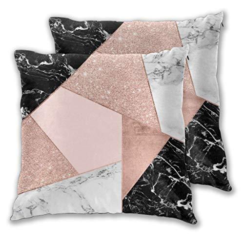 Juego de 2 fundas de cojín con diseño de fanáticos de arte con purpurina en oro rosa, negro, mármol blanco, geométrico, cuadrado, funda de almohada para sofá, silla, sofá o dormitorio, fundas de almohada decorativas