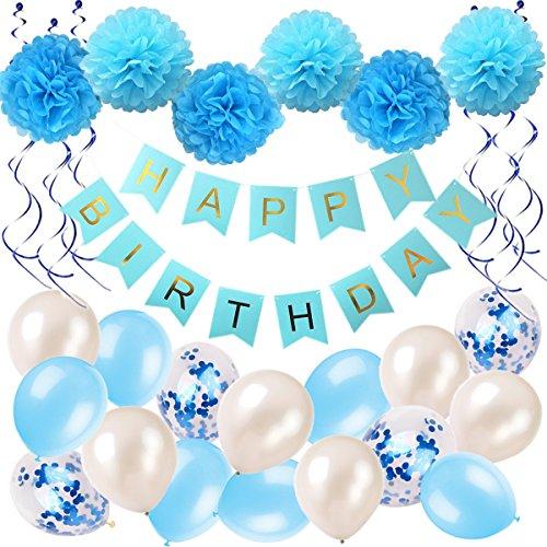GeburtstagsdekoJunge Blau Happy Birthday Girlande Pompoms Luftballons Spiralen Geburtstag deko set