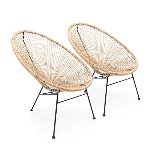 Kare Design Stuhl Spaghetti, moderner Lounge Sessel im Retro-Design für den Innen und Outdoorbereich, Nature-Beige, 2er Set, (H/B/T) 88x73x79,5cm