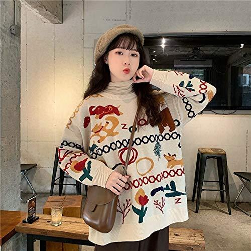 Suéter De Invierno para Mujer,Cálido Retro Animal Cartoon Print Punto Suéter De Mujer Suéter Invierno Moda...