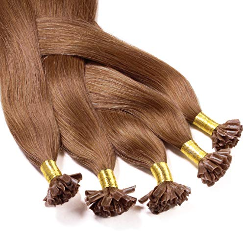 hair2heart 50 x 0.5g Echthaar Bonding Extensions, glatt - 50cm - #8 hellbraun