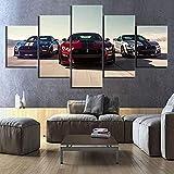 Pared Lienzo Pintura 5 Piezas HD Coches Lujo Imágenes Impresas Ford Mustang SH-El-by Gt500 Póster Pinturas Decorativas para Decoración del Hogar