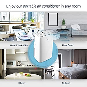 DELLA 14,000 BTU Portable Air Conditioner Cooling Fan Dehumidifier Digital Display Remote Control Window Vent Kit White