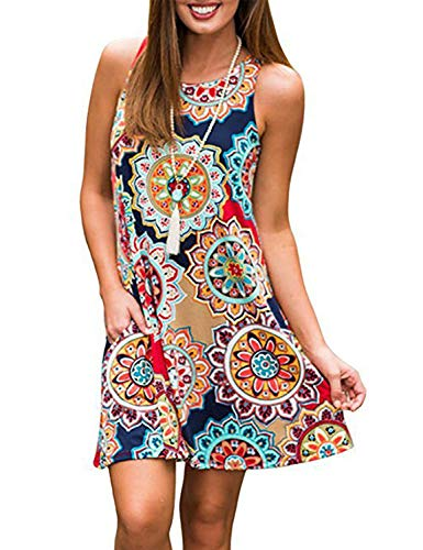Beach Party Dress,Tanst Women Round Neck Casual Sleeveless Swing Vintage Loose Fit Knit Stretchy Flowy Hem Pageant Dress Geometric XL
