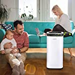 Waykar 4500 sq. Ft dehumidifier for home basements bedroom garage, removes 9 gallons moisture/day, with continuous drain… 13 dehumidifier for spaces up to 4500 sq ft- our dehumidifier are able to remove up to 70 pints (under 95°f,85%rh condition) of moisture per day. (please note: under 95°f,85%rh condition, the max dehumidification capacity up to 70 pints)in areas up to 4,500 sq. Ft and adjust humidity from 30% to 85%. It is a dehumidifier ideal for any basements, office, home, bathroom, bedroom, kitchen, stockroom, living room, laundry room, cellars, crawlspace, large spaces/room, etc.. Unique design for the modern home- the waykar dehumidifiers designed with the sleek and modern look. With built-in wheels and ergonomically placed handles, you can move this dehumidifier easily. A quiet fan that won't disturb you when you sleep or at work, adjustable fan speeds for multiple choices. There are 4 air outlets in the four sides of dehumidifier instead of that in one side, with this design will improve the speed of dehumidify. Intelligent touch control- there is an intelligent screen touch control panel display on the dehumidifier, you can operate it easily. Humidity auto control: simply adjust to your ideal moisture setting, it will smartly sense room humidity and control dehumidification to maintain pre-set humidity levels. 24-hour timer: for preset operation and reduced energy consumption. Automatic shut off/on: shuts off automatically when the bucket is full, and switch it on again after the bucket been emptied.