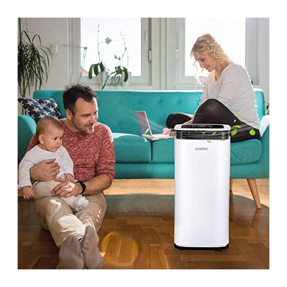 Waykar 4500 sq. Ft dehumidifier for home basements bedroom garage, removes 9 gallons moisture/day, with continuous drain… 5 dehumidifier for spaces up to 4500 sq ft- our dehumidifier are able to remove up to 70 pints (under 95°f,85%rh condition) of moisture per day. (please note: under 95°f,85%rh condition, the max dehumidification capacity up to 70 pints)in areas up to 4,500 sq. Ft and adjust humidity from 30% to 85%. It is a dehumidifier ideal for any basements, office, home, bathroom, bedroom, kitchen, stockroom, living room, laundry room, cellars, crawlspace, large spaces/room, etc.. Unique design for the modern home- the waykar dehumidifiers designed with the sleek and modern look. With built-in wheels and ergonomically placed handles, you can move this dehumidifier easily. A quiet fan that won't disturb you when you sleep or at work, adjustable fan speeds for multiple choices. There are 4 air outlets in the four sides of dehumidifier instead of that in one side, with this design will improve the speed of dehumidify. Intelligent touch control- there is an intelligent screen touch control panel display on the dehumidifier, you can operate it easily. Humidity auto control: simply adjust to your ideal moisture setting, it will smartly sense room humidity and control dehumidification to maintain pre-set humidity levels. 24-hour timer: for preset operation and reduced energy consumption. Automatic shut off/on: shuts off automatically when the bucket is full, and switch it on again after the bucket been emptied.