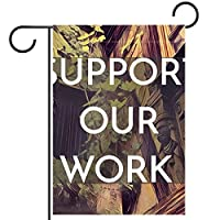 ガーデンフラグウェルカムバナーフラグヤードガーデン屋外装飾オールシーズンの垂直両面アートフラグ私たちの仕事を納付してください