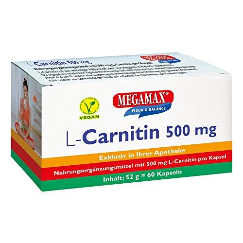 MEGAMAX L-Carnitin 500 mg 60 Kapseln | Ideal für das Figur-Training | Vegan | glutenfrei | Laktosefrei Carnitin | laborgeprüft, Ultra hochdosiert | Zur Nahrungsergänzung bei vegetarischer Ernährung