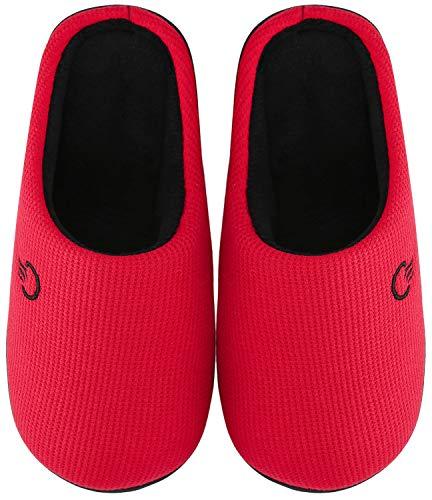 Mishansha Zapatillas de Estar en Casa Hombre Mujer, Zapatillas Casa Memory Foam para Invierno Otoño, Cómodas/Blanditas/Mulliditas y Calientes(Rojo, 38/39 EU)