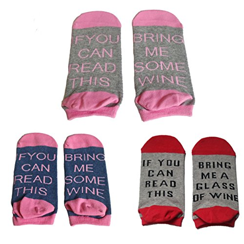 3 Pairs Women's Cotton Funny No Show Socks Novelty Cute Wine Party Hosiery Gift (style 2)