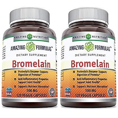 Amazing Formulas Bromelain 500 mg,2400 GDU Veggie Capsules - (Non-GMO, Gluten Free) Proteolytic Enzymes-Supports Dijestion of Proteins-Anti-Inflammatory Properties