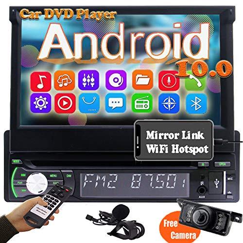 Autoradio 1 din Stereo Auto Con Schermo a Scomparsa Radio Bluetooth Auto Android 10.0 Lettore DVD Navigatore GPS 7 pollici Car Stereo Macchina WiFi FM/AM Mirrorlink DAB USB AUX Telecamera Posteriore