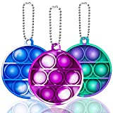 Simple Dimple Fidget Popper 3 Pack Mini Fidget Toys with Keychain Pop Fidgets Toy for Adults Kids Stress Relief Decompression Silicone Sensory Toy