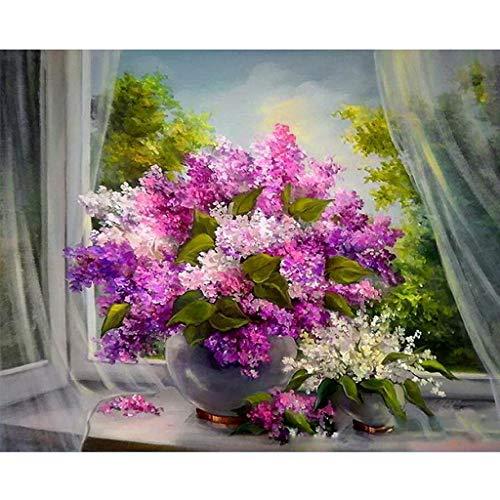 Ecmqs - Set de bricolaje para pintar por números para adultos y niños, con lienzo de lino con flores violeta, de 40 x 50 cm, pintura al óleo, como regalo de Navidad (sin marco)