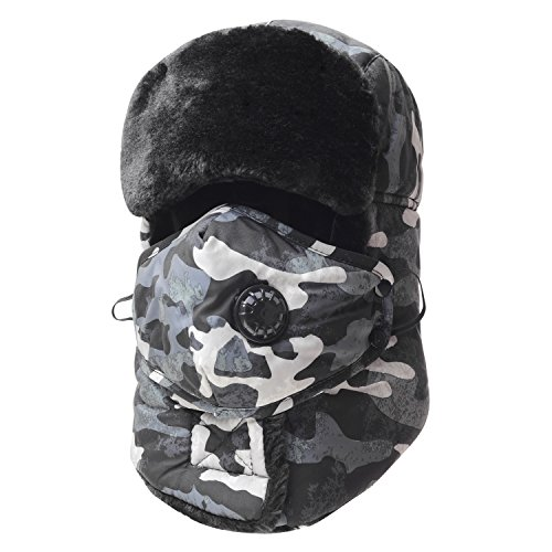 Trooper Trapper Hat,Winter Ski Hat with Winter Ear Flap and Ski Windproof Mask (Gray)