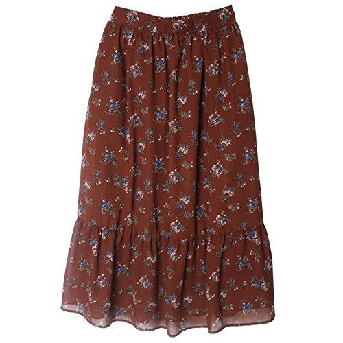 ギャザースカート シフォン ロング 花柄 ウエストゴム スカート レディース 春 Mサイズ/ ブラウン