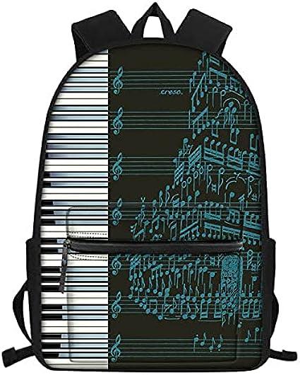 daweiwei Nota musical / Teclado de piano Impreso Mochilas escolares para niños Mochila escolar para niños Mochilas escolares para niños Mochila ortopédica Mochila 28.5 * 40 * 17cm
