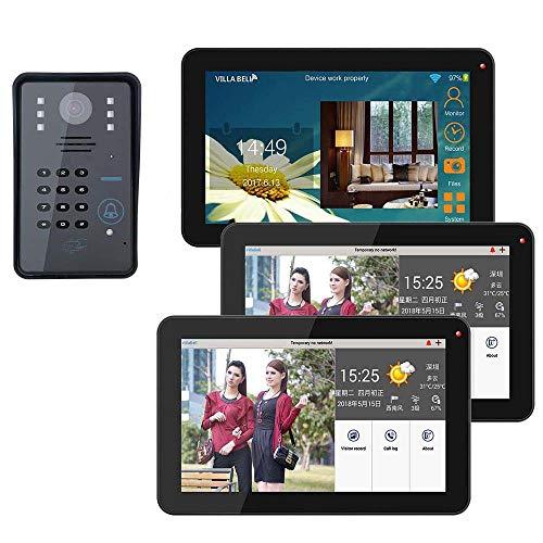 XINTONGSPP Timbre, 9 Pulgadas 3 monitores con Cable/inalámbrico WiFi WiFi RFID Video Door Portero Timbre Sistema de intercomunicación con + IR-Cut HD 1000TVL Cámara