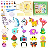 Arts and Crafts for Kids 3 4 5 6 7 8, 40 Pcs Paint Your Own Wooden Magnet, Art and Craft Supplies Party Toys for 3-8 Year Old Girls and Boys, Birthday Easter