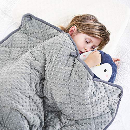 Peradix Gewichtete Decke für Kinder - Therapiedecke Anti Stress, 90x122cm kinderdecke Kuscheldecken für Angst und Schlafstörungen (Grau, 5 lbs, 122 * 90cm)