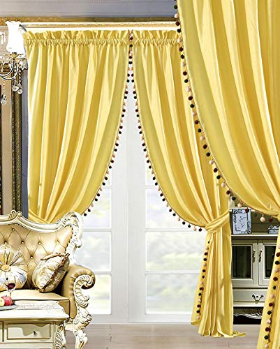 "Modern 4 - Piece Premium Quality Solid Sunshine Yellow Velvet Curtain Set, Drapes/Window Panels 116"" Wide X 84"" Tall"