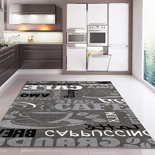 VIMODA Küchenteppich Grau Trendiger Kaffee Teppich, Verschiedene Schriftarten & Muster Kaffee, Maße:120 x 170 cm