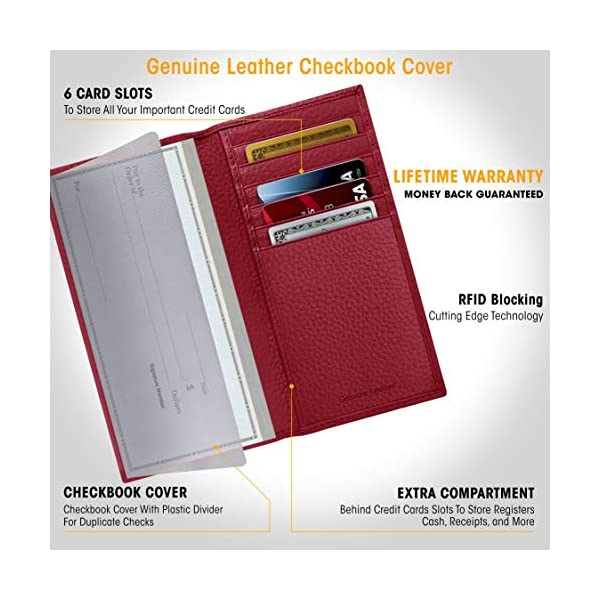 Genuine Leather Checkbook Cover For Women & Men – Checkbook Holder Check Book Covers For Duplicate Checks Card Wallet RFID