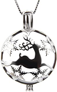Christmas Reindeer Cage Lockets Pendant for Pearl Jewelry Sterling Silver, Pearl AnimalCage Pendant for Women Jewelry, Essential Oil Lockets for Women Men