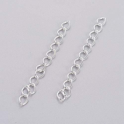 Perlin 100 Strang Metallkette Twist Chain Extension für Halskette Fußkettchen Armband Gliederkette Kabel Kette Link Panzerkette 5,5x3,5mm (Silber)