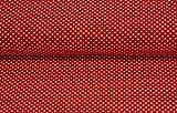 Jersey Stoff mit weißen Punkten auf Rot Meterware zum
