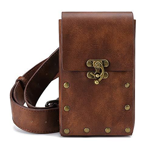 Steampunk Leather Crossbody Shoulder Tote Handbag Messenger Gothic Waist Bag Fanny Pack Motorcycle Drop Leg Bag Hip Holster Belt Purse Pouch Chain Travel Wallet for Women Men