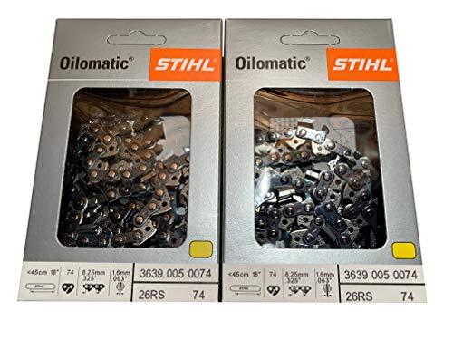 Stihl 26RS 74 eslabones de transmisión. Calibre 325.063, 18 Pulgadas, Rapid Super, 2 Paquetes, Cadena de Motosierra Profesional, 3639-005-0074