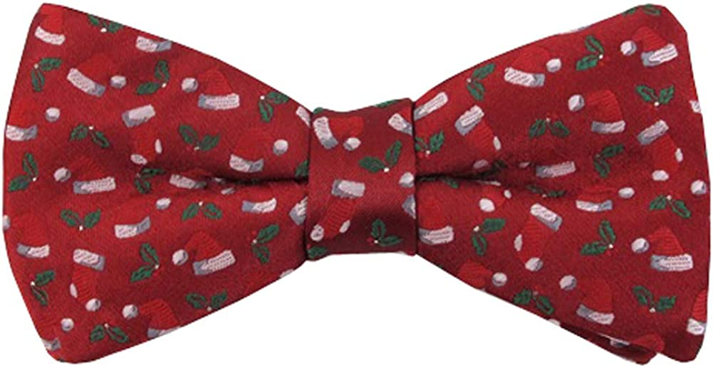 Men's Santa Hats Stockings Holly Merry Christmas Pre-Tied Banded Bow Tie - Red