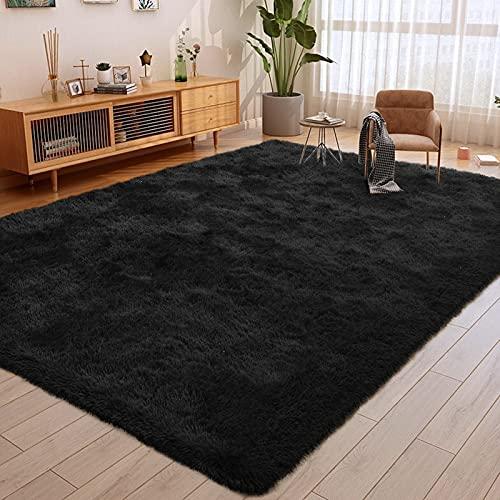 ULTRUG Fluffy Area Rugs for Bedroom, Soft Shaggy Rug for Living Room, Nursery Indoor Rugs Plush Floor Carpet Non-Slip Furry Play Mat for Kids Girls Room Modern Home Decor, 5.3 x 7.5 Feet Black
