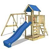 WICKEY Klettergerüst FastFlyer Spielturm Kletterturm mit Schaukel und Rutsche, Strickleiter und...