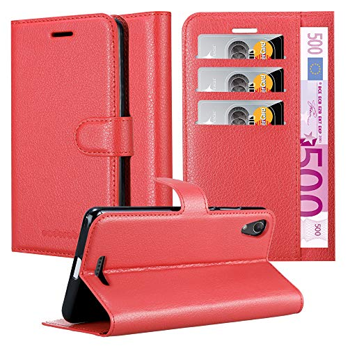 Cadorabo Hülle für WIKO Lenny 4 - Hülle in Karmin ROT – Handyhülle mit Kartenfach & Standfunktion - Hülle Cover Schutzhülle Etui Tasche Book Klapp Style