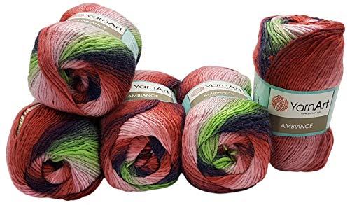Ilkadim 5 ovillos de 100 g YarnArt Ambiance multicolor con degradado, 500 gramos de hilo para tejer...